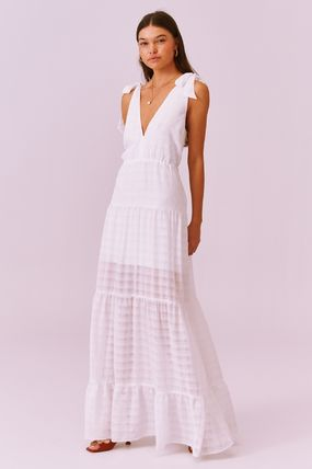 Other Plaid Patterns Maxi A-line Sleeveless Flared V-Neck