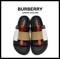 Burberry London Casual Style Leather Sport Sandals Shower Shoes Flip Flops