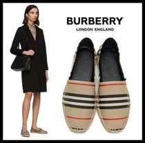 Burberry London Stripes Rubber Sole Casual Style Blended Fabrics