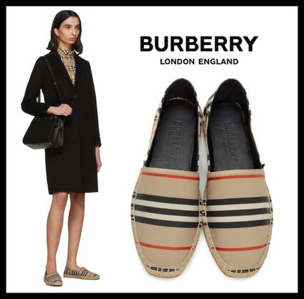 Stripes Rubber Sole Casual Style Blended Fabrics