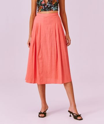 Flared Skirts Casual Style Linen Plain Medium Party Style