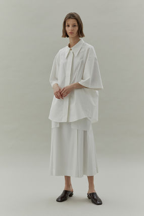 Short Casual Style Plain Cotton Medium Long Short Sleeves