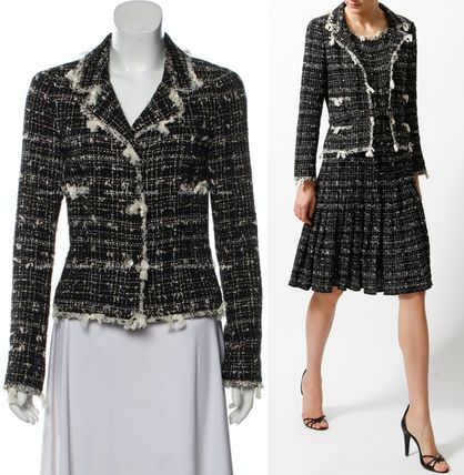 CHANEL TIMELESS CLASSICS CHANEL Black Creme Tweed Jacket F38