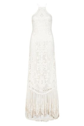 Tight A-line Nylon Flared Halter Neck Long Fringes Lace