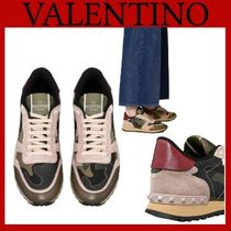 VALENTINO Camouflage Rubber Sole Casual Style Street Style Leather