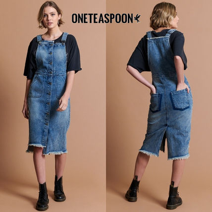 Dungarees Casual Style Denim Cotton Medium Front Button