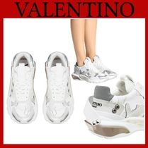 VALENTINO Camouflage Platform Rubber Sole Casual Style Studded