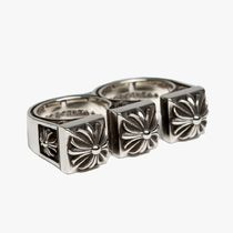 CHROME HEARTS CH PLUS Flower Patterns Unisex Street Style Plain Silver Logo Rings