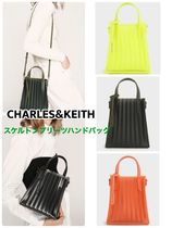 Charles&Keith Casual Style Suede Faux Fur Plain Crossbody Logo Clear Flame