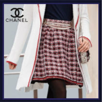 CHANEL Flared Skirts Short Other Plaid Patterns Tweed Bridal