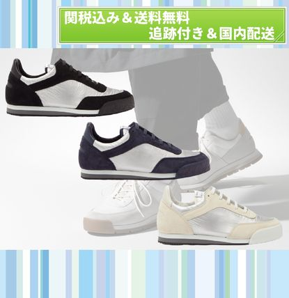 Suede Street Style Bi-color Plain Leather Sneakers
