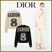 Christian Dior Crew Neck Casual Style Cashmere Long Sleeves Elegant Style
