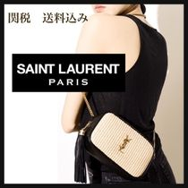 Saint Laurent LOU Casual Style Blended Fabrics Chain Leather Elegant Style