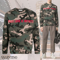 VALENTINO Crew Neck Pullovers Camouflage Street Style Long Sleeves