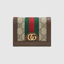 GUCCI Ophidia Canvas Leather Folding Wallet Logo Folding Wallets