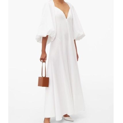 Casual Style Maxi A-line Flared Cropped Plain Long Oversized