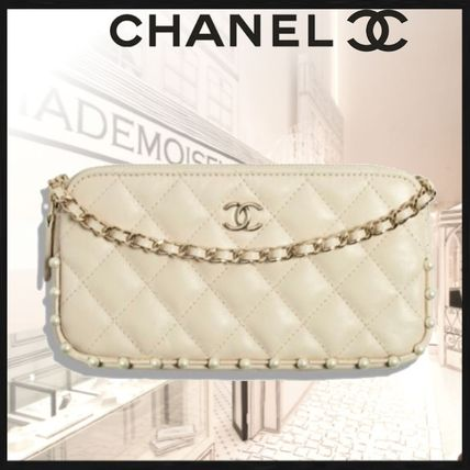 CHANEL Casual Style Unisex Calfskin 2WAY Chain Plain Party Style