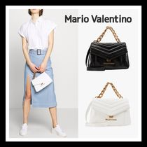 Mario Valentino Faux Fur 2WAY Chain Plain Office Style Formal Style