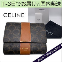 CELINE Triomphe Canvas Monogram Calfskin Canvas Blended Fabrics Leather