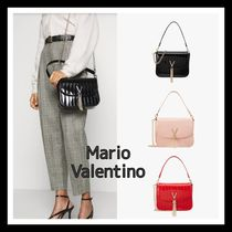 Mario Valentino Faux Fur 2WAY Plain Office Style Formal Style  Shoulder Bags