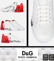 Dolce & Gabbana Casual Style Bi-color Leather Logo Low-Top Sneakers