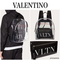 VALENTINO Casual Style Nylon A4 Plain Office Style Formal Style  Logo