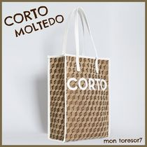 CORTO MOLTEDO Casual Style Canvas A4 Leather Totes