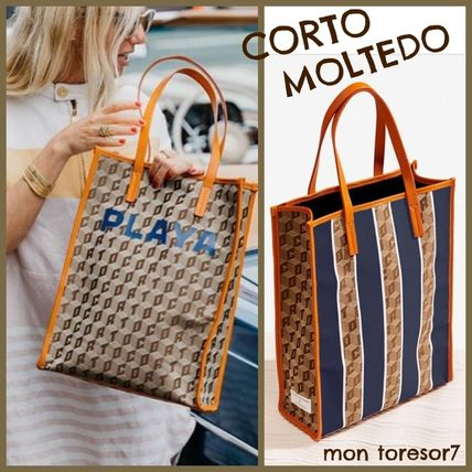 Casual Style Canvas A4 Leather Totes