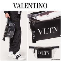 VALENTINO Casual Style Nylon Plain Crystal Clear Bags Office Style