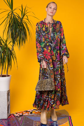 Flower Patterns Maxi V-Neck Long Party Style Puff Sleeves