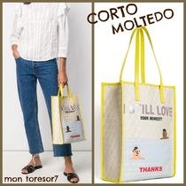 CORTO MOLTEDO Casual Style Canvas A4 Leather Logo Totes