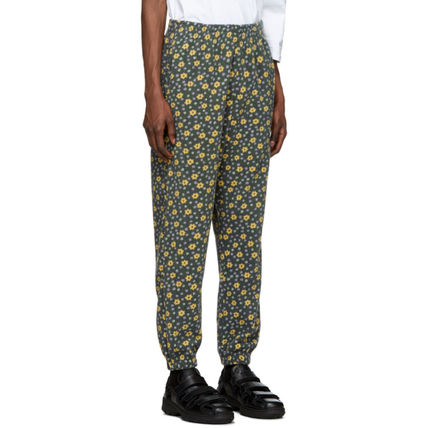 Printed Pants Flower Patterns Unisex Street Style Logo