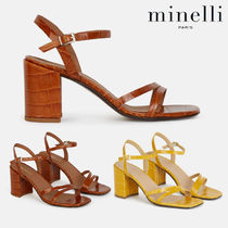 minelli Open Toe Leather Heeled Sandals