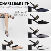 Charles&Keith Casual Style Faux Fur Studded Plain Block Heels Party Style