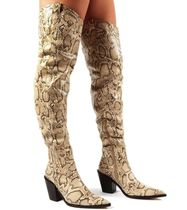 PUBLIC DESIRE Block Heels Python Elegant Style Over-the-Knee Boots