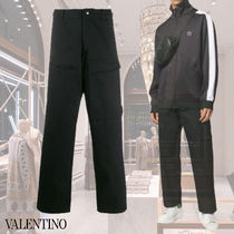 VALENTINO Street Style Plain Cotton Front Button Cropped Pants