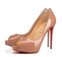 Christian Louboutin Open Toe Platform Plain Leather Pin Heels Party Style