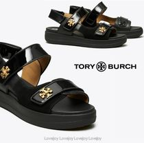 Tory Burch Open Toe Platform Rubber Sole Casual Style Suede