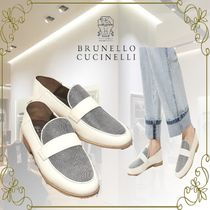 BRUNELLO CUCINELLI Casual Style Plain Leather Office Style Elegant Style