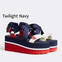 Tommy Hilfiger Open Toe Platform Casual Style Blended Fabrics Plain
