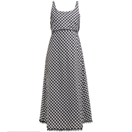 Gingham Casual Style Maxi Sleeveless Flared Cotton Long
