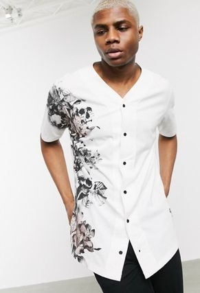 Flower Patterns Street Style Short Sleeves Logo Shirts