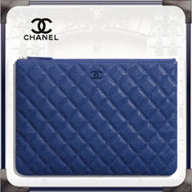 CHANEL Calfskin Plain Leather Logo Metallic Pouches & Cosmetic Bags