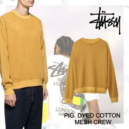 STUSSY Sweaters Street Style Long Sleeves Plain Logo Skater Style Sweaters