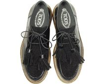 TOD'S Round Toe Rubber Sole Tassel Leather Shearling
