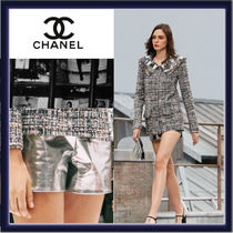 CHANEL Short Casual Style Plain Leather Party Style Office Style