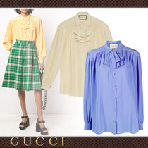 GUCCI Casual Style Silk Long Sleeves Plain Medium Party Style