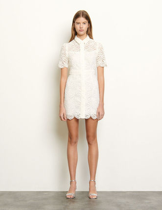 Short Bi-color Short Sleeves Party Style Lace Office Style