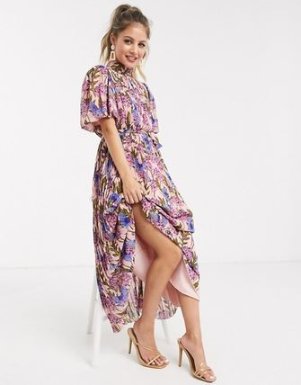 Flower Patterns Casual Style Long Short Sleeves High-Neck