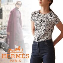 HERMES Crew Neck Short Cotton Short Sleeves Cropped